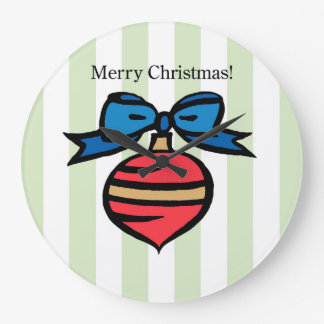 Merry Christmas Ornament Round Large Clock Green