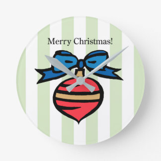Merry Christmas Ornament Round Med Wall Clock GR 2