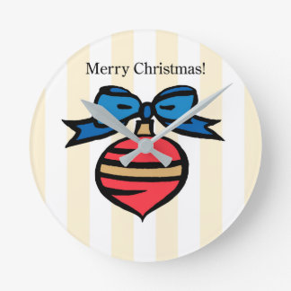 Merry Christmas Ornament Round Med Wall Clock Yel