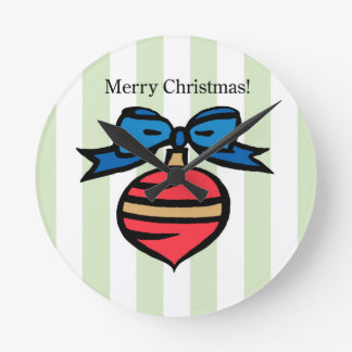 Merry Christmas Ornament Round MedWall Clock Green