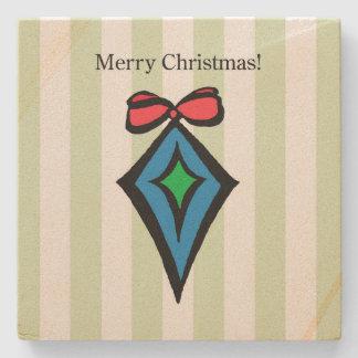 Merry Christmas Ornament Sandstone Coaster