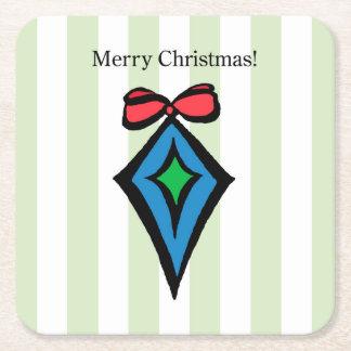 Merry Christmas Ornament Square Coaster