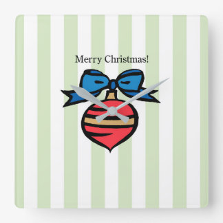 Merry Christmas Ornament Square Wall Clock Green 2