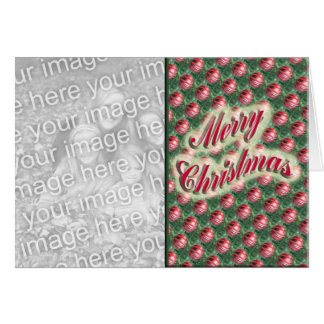 Merry Christmas ornaments photo frame Greeting Card