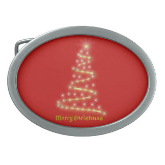 Merry Christmas Oval Belt Buckle