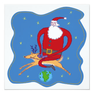 Merry Christmas Over the World Santa Card 13 Cm X 13 Cm Square Invitation Card