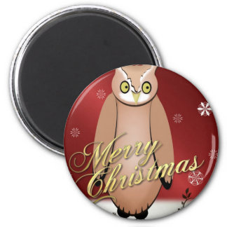 Merry Christmas Owl Red 6 Cm Round Magnet