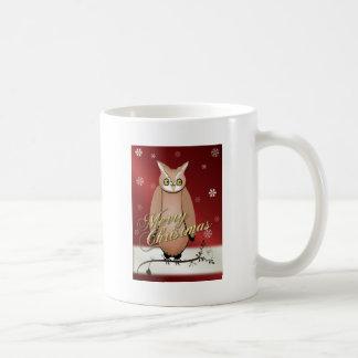 Merry Christmas Owl Red Basic White Mug