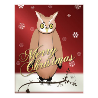 Merry Christmas Owl Red Custom Flyer