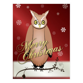 Merry Christmas Owl Red Post Card
