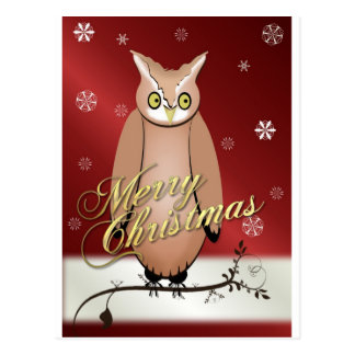 Merry Christmas Owl Red Postcard