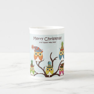 Merry Christmas Owls on the Tree Bone China Mug