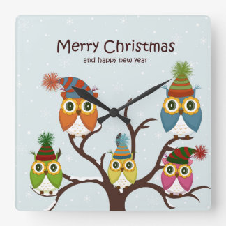 Merry Christmas Owls on the Tree Clocks