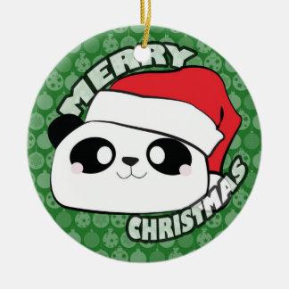 Merry Christmas Panda Ornament