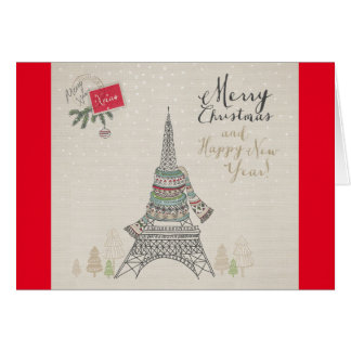 Merry Christmas Paris Design Greeting Card