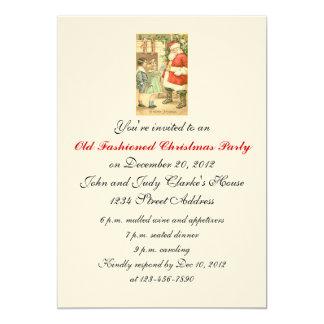 Merry Christmas Party Invitations Vintage Santa