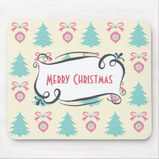 Merry Christmas Pattern with Trees Baubles & Bows Mouse Pad