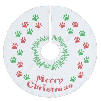 Merry Christmas Paw Print Brushed Polyester Tree Skirt
