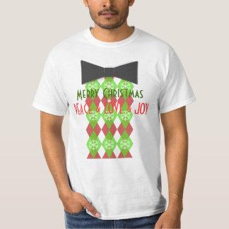 Merry Christmas Peace Love & Joy Black Tie T-Shirt