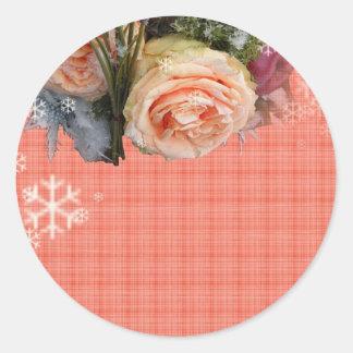Merry Christmas Peach Roses Plaid Sticker