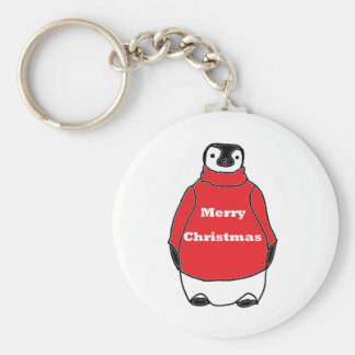 Merry Christmas Peguin in red sweater Basic Round Button Key Ring