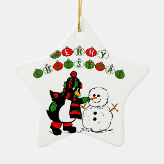 Merry Christmas Penguin and Snowman Double-Sided Star Ceramic Christmas Ornament