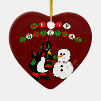 Merry Christmas Penguin and Snowman Double-Sided Heart Ceramic Christmas Ornament