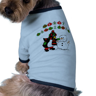 Merry Christmas Penguin and Snowman Pet Tee Shirt