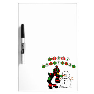 Merry Christmas Penguin and Snowman Dry-Erase Whiteboard