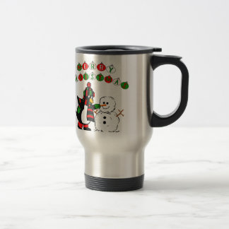 Merry Christmas Penguin and Snowman Coffee Mugs