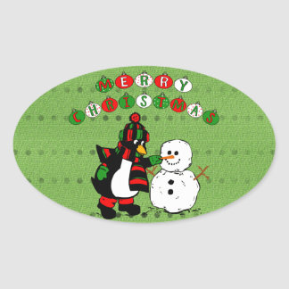 Merry Christmas Penguin and Snowman Stickers