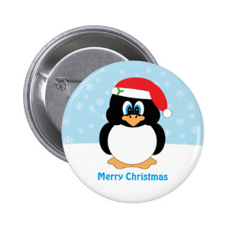 Merry Christmas Penguin Button