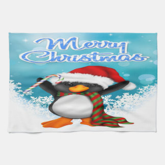 Merry Christmas Penguin Kitchen Towel