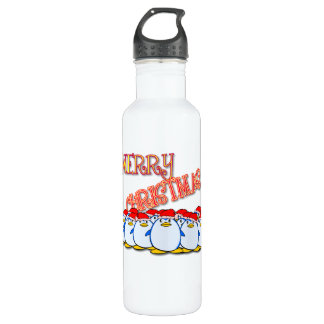 Merry Christmas Penguin 24oz Water Bottle