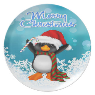 Merry Christmas Penguin Party Plates