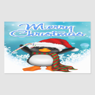 Merry Christmas Penguin Rectangle Stickers