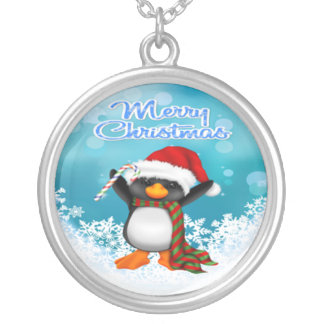 Merry Christmas Penguin Round Necklace
