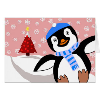 Merry Christmas, Penguin Sliding Downhill Card