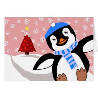 Merry Christmas, Penguin Sliding Downhill Greeting Card