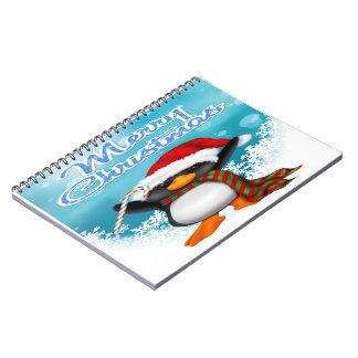 Merry Christmas Penguin Spiral Notebook