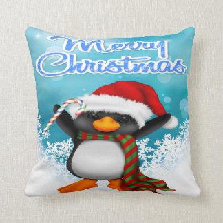 Merry Christmas Penguin Throw Pillow Cushions