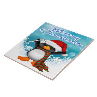 Merry Christmas Penguin Tile/Trivet Large Square Tile