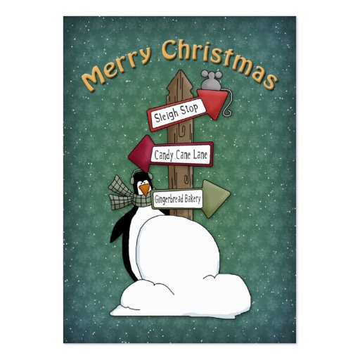 Merry Christmas Penguin with Sign Business Card Template