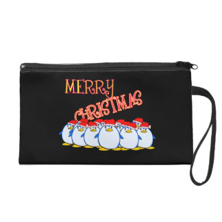 Merry Christmas Penguin Wristlet