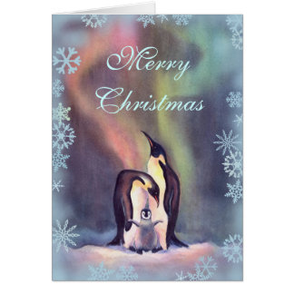MERRY CHRISTMAS PENGUINS by SHARON SHARPE Greeting Card