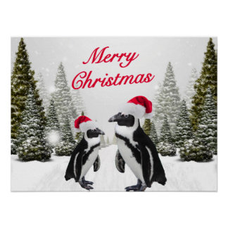 Merry Christmas Penguins In The Snow Poster