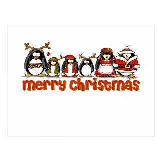 Merry Christmas Penguins Postcard