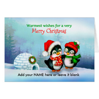 Merry Christmas Penguins with Igloo in Snow Greeting Card