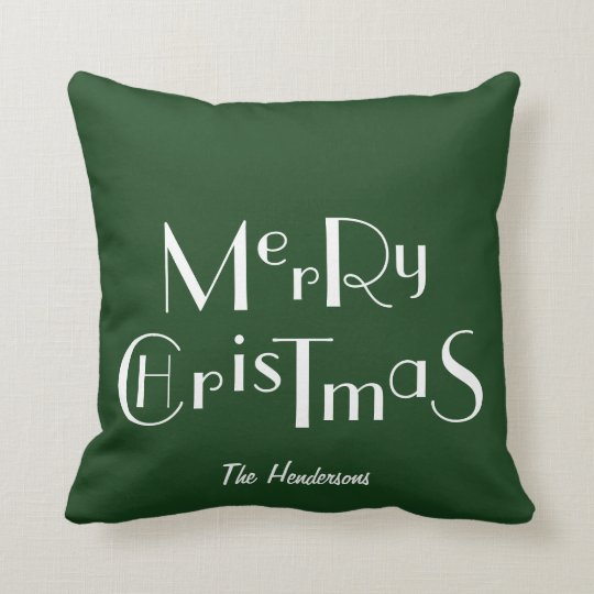 Merry Christmas & Personalised Family - Cushion