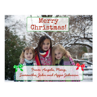 Merry Christmas personalised Family Photo Postcard